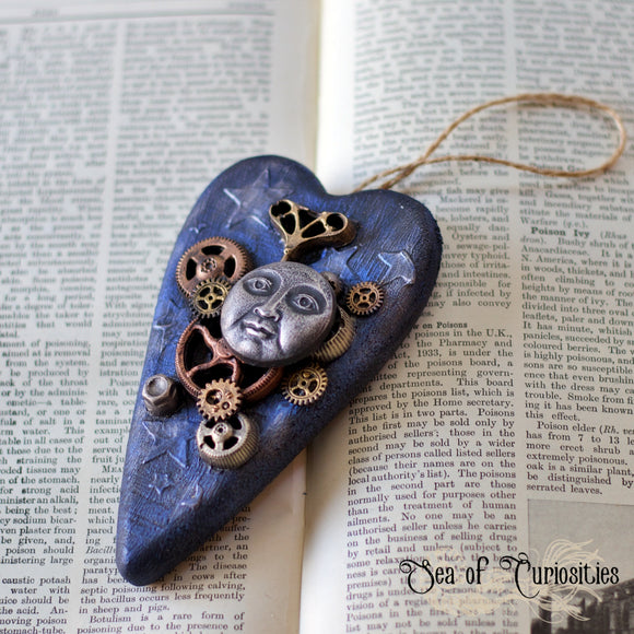 Steampunk Moon Hanging Wooden Heart