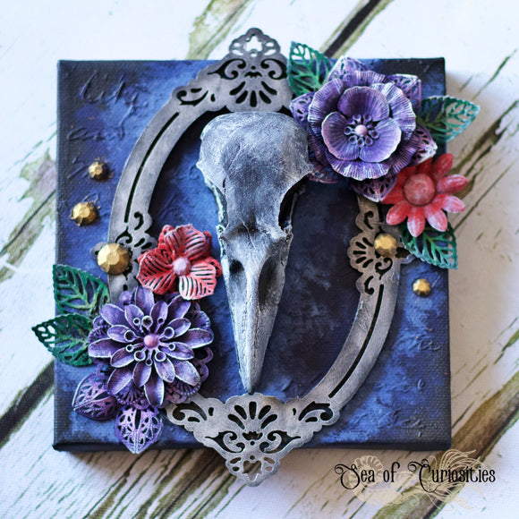 Floral Bird Skull Mixed Media Canvas Art