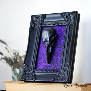 Gothic Purple Bird Skull Art