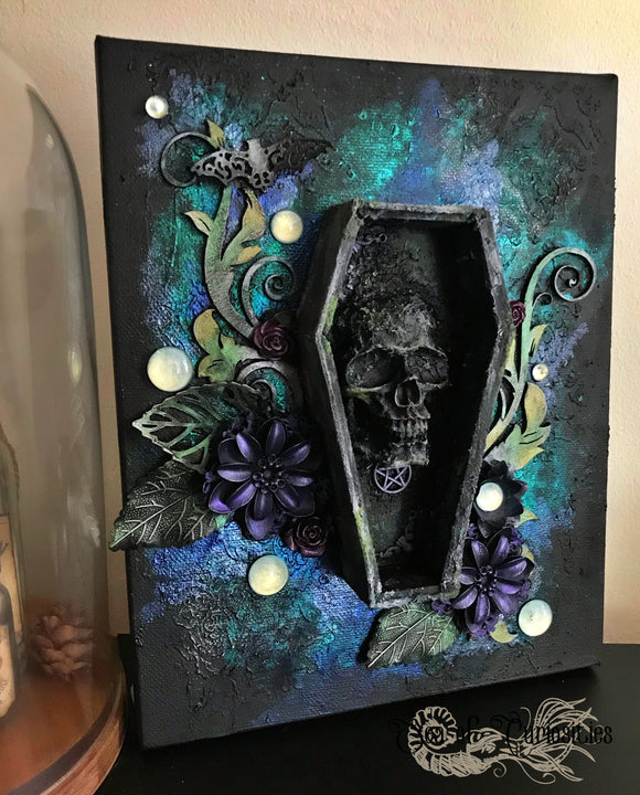 Beauty in Death, gothic inspired Mixed Media Canvas Art