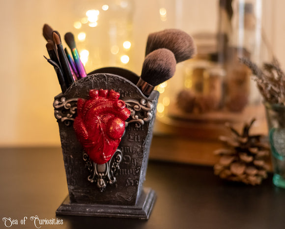 Gothic anatomical heart make-up brush, pencil and pen holder.