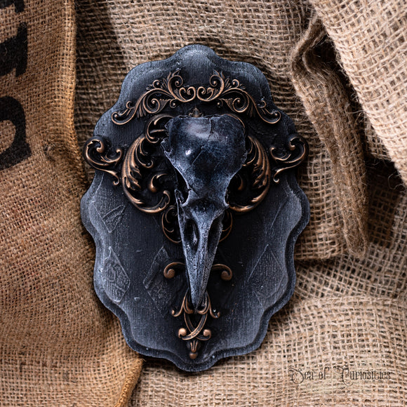 Crow Wall Plaque - Silver and Bronze
