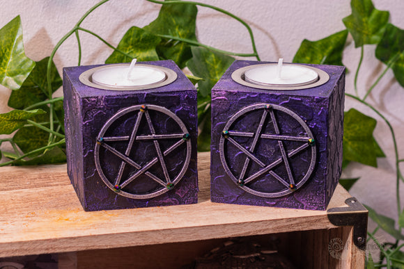 Pentacle Tealight Candle Holders (Set of 2)