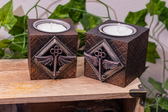 Winged Key Tealight Candle Holders (Set of 2)