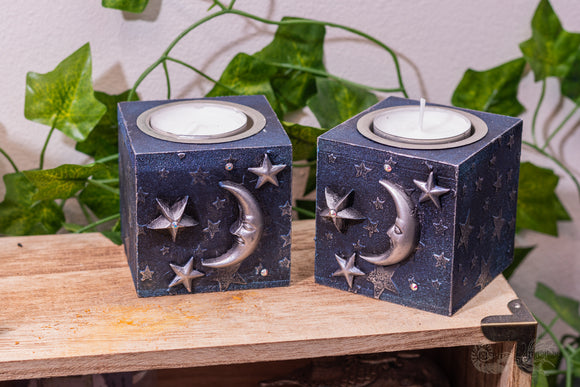 Moon & Stars Tealight Candle Holders (Set of 2)