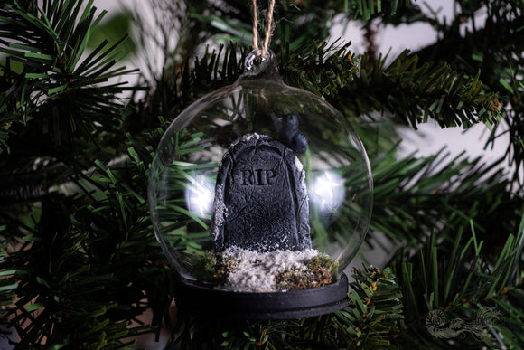 Snowy Tombstone Dome with Crow Gothic Christmas Decoration