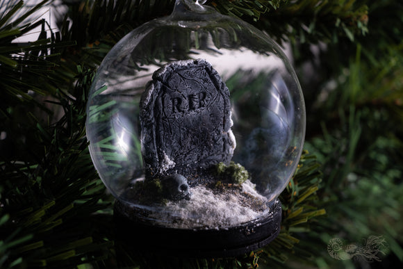 Snowy Tombstone Dome with Skull Gothic Christmas Decoration