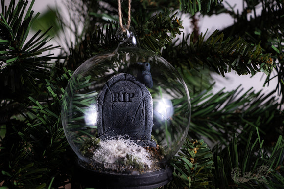Snowy Tombstone Dome with Raven Gothic Christmas Decoration