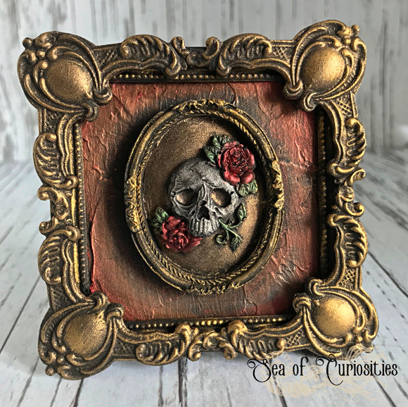 Gothic Skull Cameo Small Ornate Framed Art