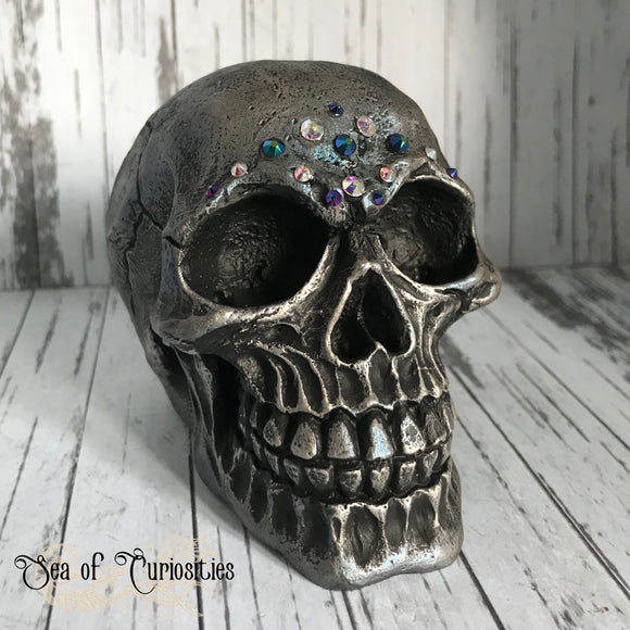 Silver and Petrol Blue Crystal Skull Gothic Decor