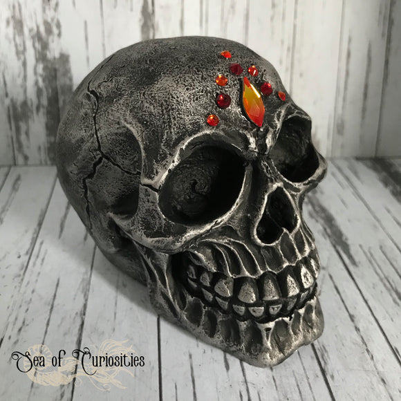 Silver Fire Crystal Skull Gothic Decor