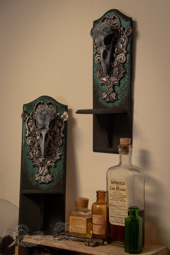 Crow Wooden Wall display shelves - Set of 2