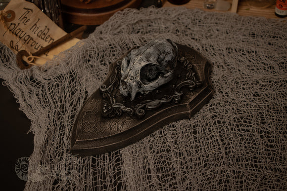 Faux Cat Skull Gothic Wall Plaque
