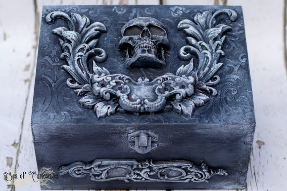 Large Ornate Gothic Skull Wooden Box