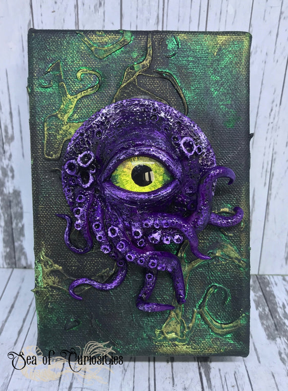 Tentacle and eye monster canvas art - Purple and Green