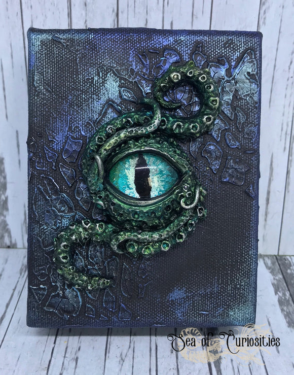 Tentacle and eye monster canvas art - Teal and Blue