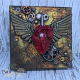 Winged Heart Steampunk Alternative Canvas Wall Art