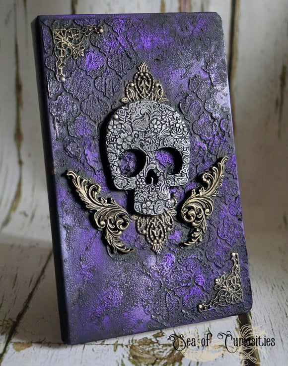 Ornate Skull Altered Journal/ A5 Plain Paper Notebook