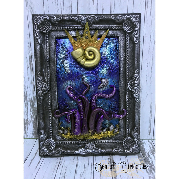 Sea Witch, Octopus inspired mixed media art, frame stand