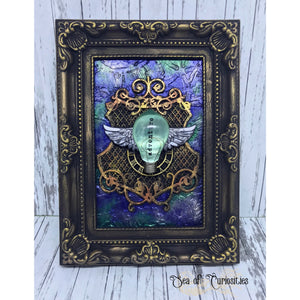 Adventure, lightbulb, steampunk, vintage inspired mixed media art, frame stand