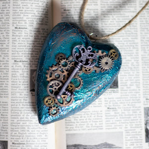 Steampunk Key Hanging Wooden Heart
