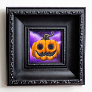 Poe the Pumpkin original canvas art framed painting