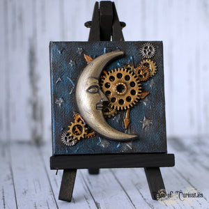 Steampunk Moon Miniature Canvas and Easel