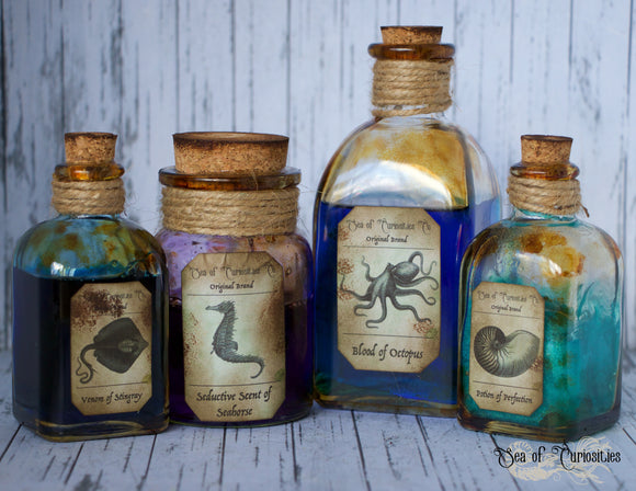 Nautical Inspired Apothecary/Potion Bottles