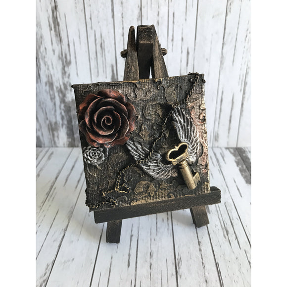 Vintage Gothic Winged Key and Rose Mixed Media Miniature