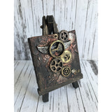 Steampunk Vintage Winged Clock and Cogs Mixed Media Miniature