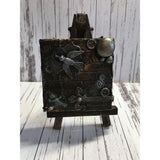 Steampunk Vintage Antique Mixed Media Miniature Canvas