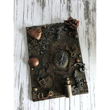 Gothic Steampunk Heart and Ribcage Mixed Media Canvas