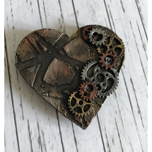 Steampunk Heart Clock & Cogs Mixed Media Magnet