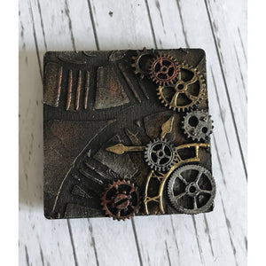 Steampunk Square Clock & Cogs Mixed Media Magnet