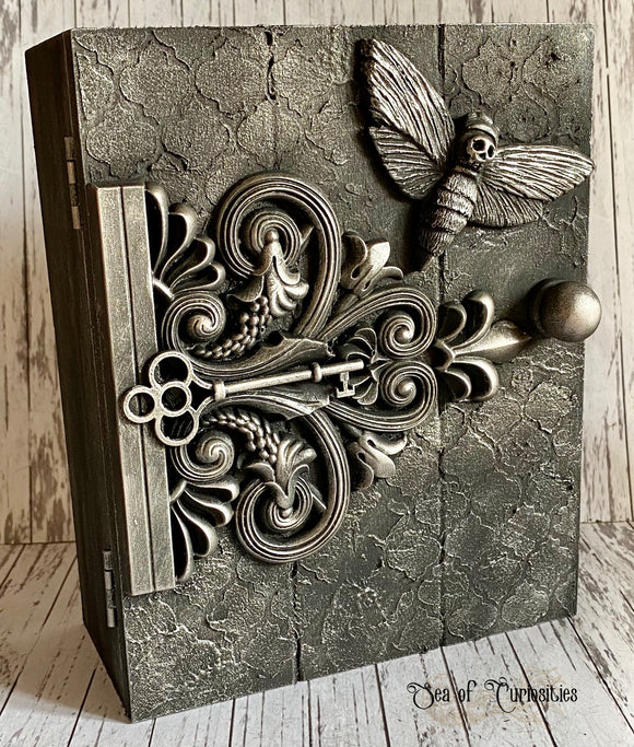 Gothic Moth & Butterfly Wooden Key Cabinet