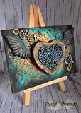 Winged Heart Mixed Media Canvas Art