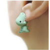 1Pair Handmade Polymer Clay Soft Cute Dinosaur Earrings Animal Piercing Ear Stud Earring (Color: Green)