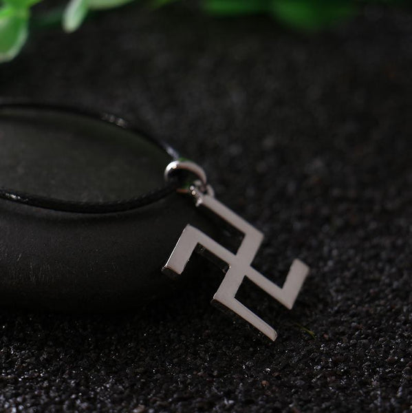 2016 Silver Buddhism Peace Symbol Swastika Necklace With Leather