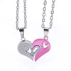 "2pcs Heart-shape ""I Love You"" Stainless Steel Couple Lovers Half Heart Pendant Necklace Puzzle pendant necklace(One Pair)"