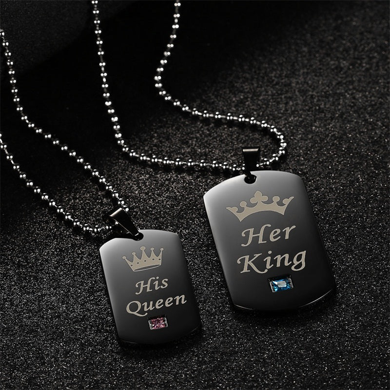 dee0c50c24 AZIZ BEKKAOUI Her King & His Queen Couple Necklaces with Box Black  Stainless Steel Tag Pendant Necklace with Stone for Gift