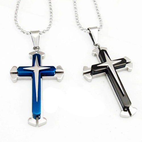 Attractive Blue Black Silver Stainless Steel Men's Cross Pendant Necklace Chain Jewelry Accessories 74RF