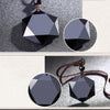 Black Obsidian Natural Stone Pendant Necklaces For Women And Men Cubic Hexagram Sweater Necklace Amulets And Talismans Jewelry