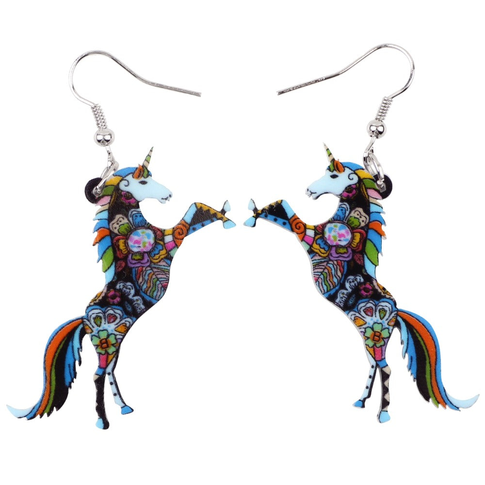 Bonsny Fashion Big Long Animal Acrylic Stud Dangle Drop Unicorn Horse Earrings 2017 News Style Fashion Jewelry For Girls Women