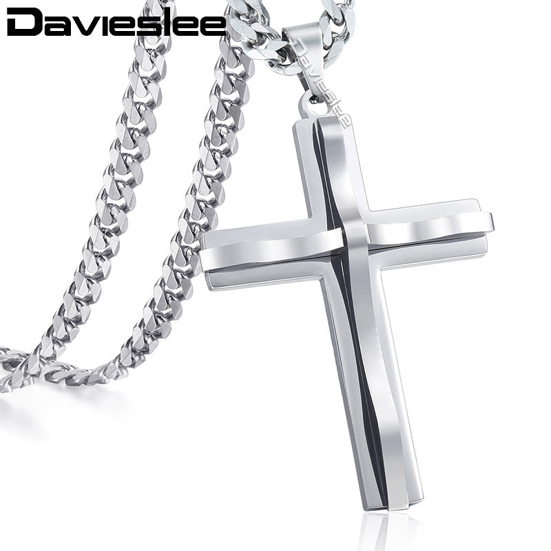 30*54mm Silver Cross Pendant Men/'s Stainless Steel Wedding Anniversary Necklace