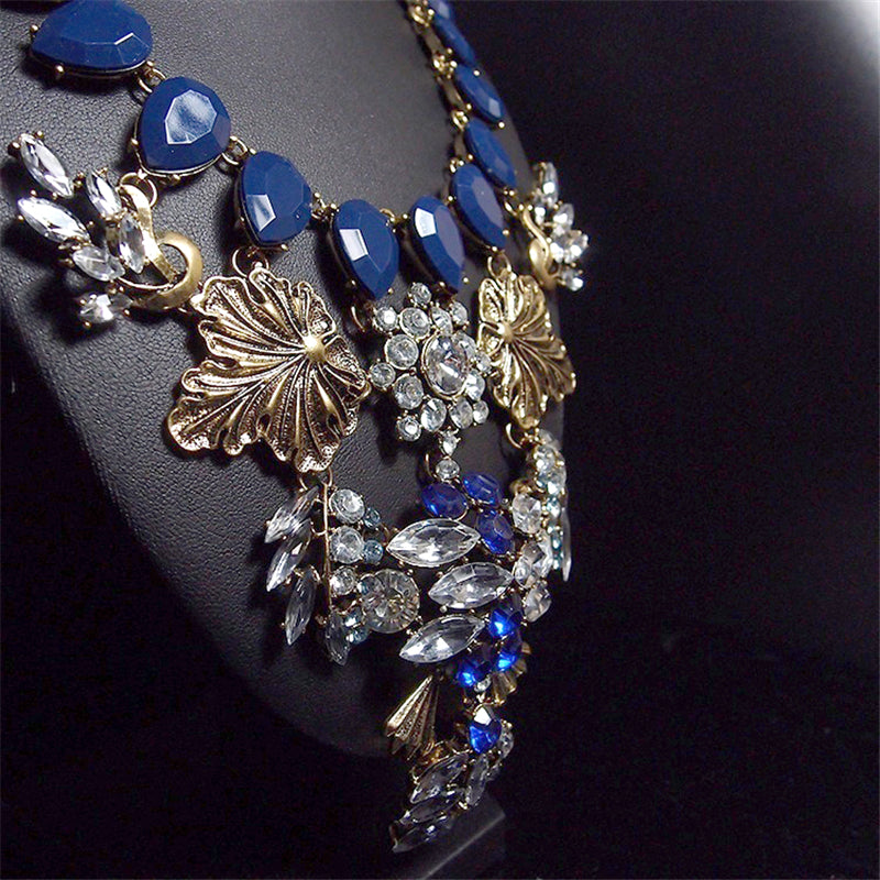 Big Stone Vintage Statement Chunky Flower Pendant Jewelry Necklaces Crystal