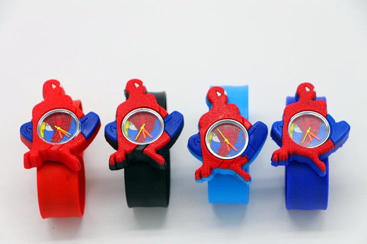 Free Shipping Cartoon spiderman slap watch Children Kids Girls Boys Students Quartz Wrist Watches