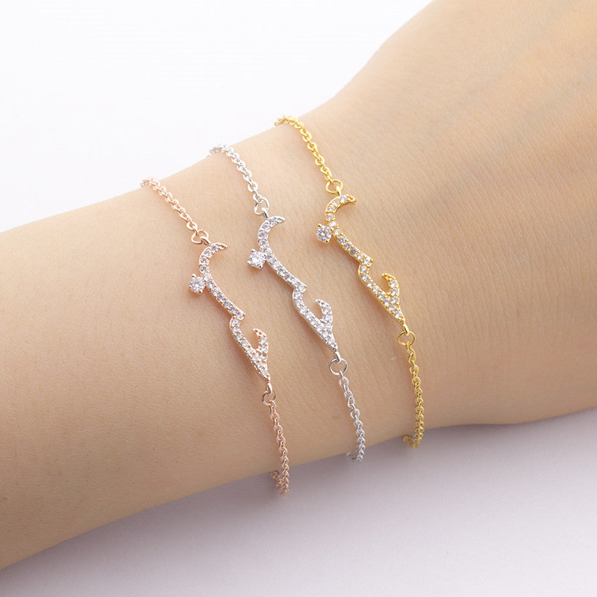 GORGEOUS TALE Crystal Arabic Love Bracelets & Bangles For Women Chain Link Femme Pulseras Mujer Bijoux Islamic Fashion Custom