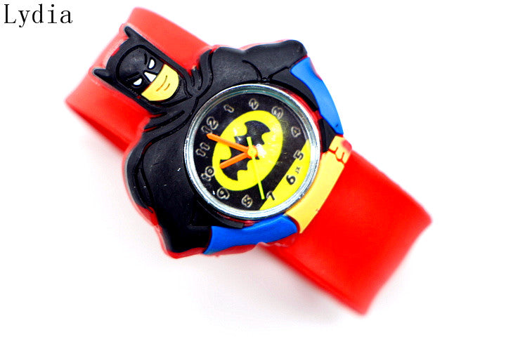 HOT Sale  watches 3D Kid Cartoon watches colorful Batman children sports High quality slap wristwatch