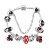 Hot European Style Mickey Minnie Love Charm Bracelets Women Fashion Red Glass Charm fits Pandora Bracelets & Bangles DIY Jewelry