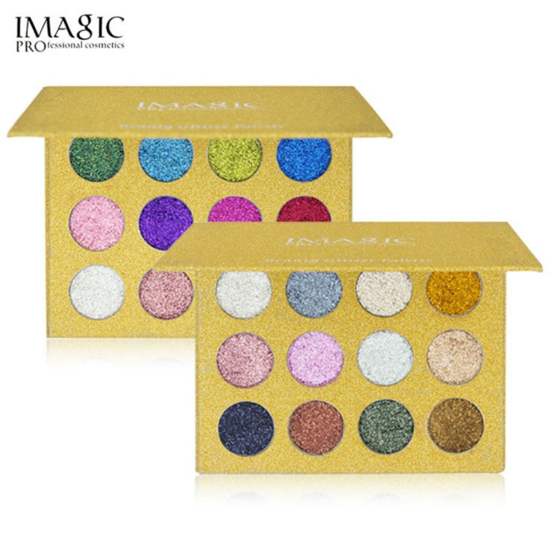 Imagic 12 Color Highly Pigmented Diamond Glitter Eye Shadow Palette Flash Shimmer Eyeshadow Make Up Palette